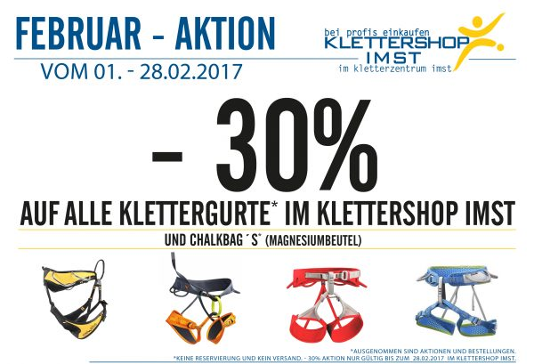Februar Aktion Klettergurte 2017