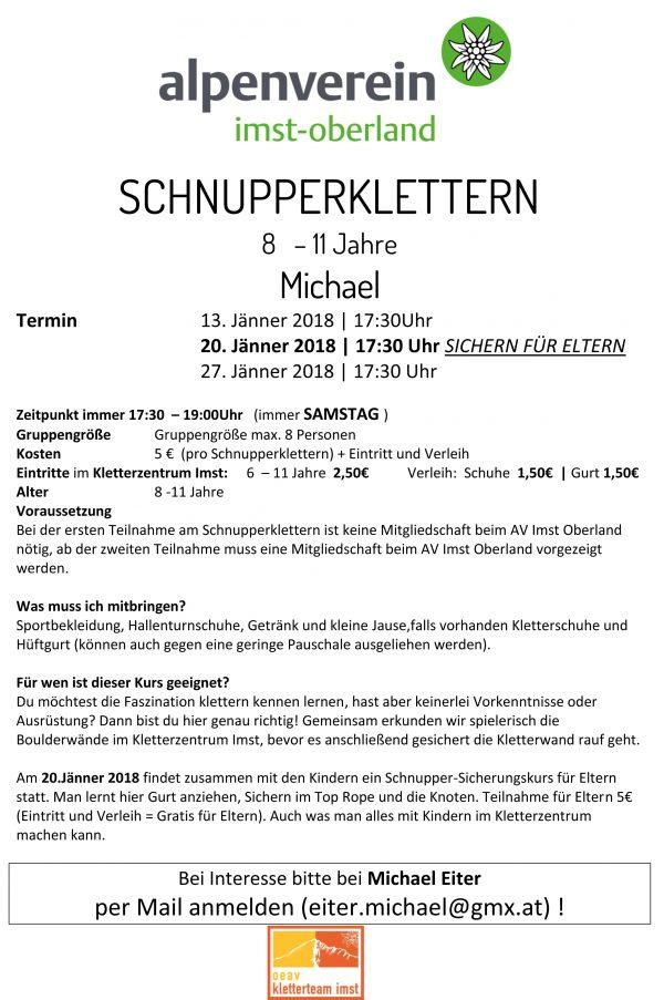 Schnupperklettern Michael Jugend